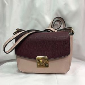 Blush Pink and burgundy Crossbody Purse